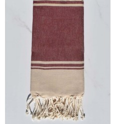 Beach towel RAF-RAF Red Bordeaux and beige