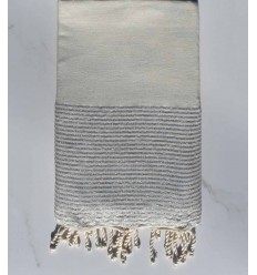 Beach towel lurex flat light grey with with silver lurex thread