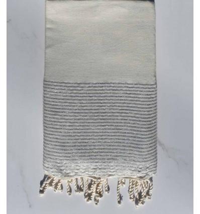 Fouta lurex plate gris clair avec fil lurex argenté