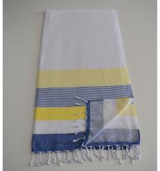 Fouta éponge blanc, jaune et bleu