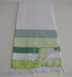 Beach towel sponge white, green and green anise