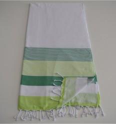 telo mare spugna bianco, verde e anice verde