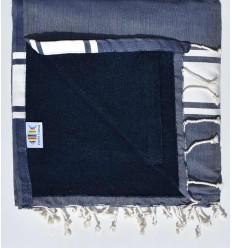 Fouta doublée éponge bleu jean et bleu nuit