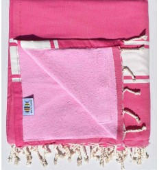 Beach towel,doubled sponge fuchsia pink and light pink