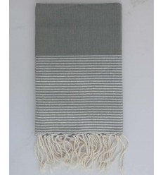 toalha de praia lurex liso cinza com fio de prata lurex