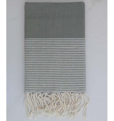 Fouta lurex plate gris avec fil lurex argenté