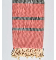 Beach towel chevron Red coral and ardesia