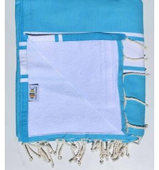 beach towel,doubled sponge heavenly blue and White