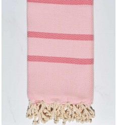 Beach towel chevron dark pink and dragee pink