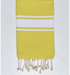 Fouta plate jaune flave bande blanche