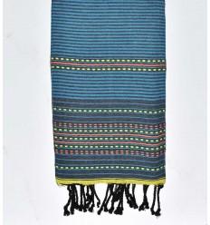 Beach towel arabesque Grey with blue stripes