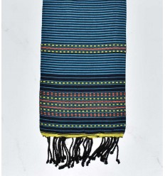 Beach towel arabesque black with blue stripes