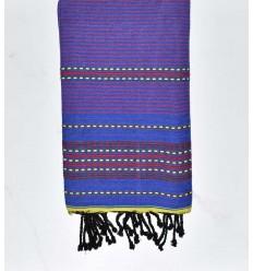 Beach towel arabesque Royal blue with mauve stripes