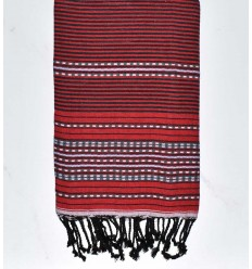 Beach towel arabesque red with black stripes