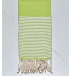 Beach towel Honeycomb green anise striped white