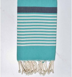 beach towel Arthur green with night blue band and white stripes
