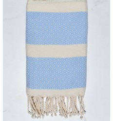 chevron light angora and sky blue beach towel