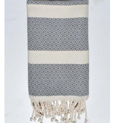 chevron white cream and gray beach towel
