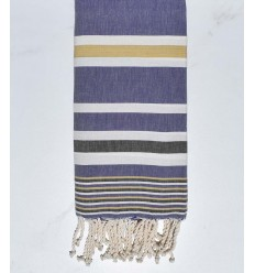Dina mauve with anthracite and beige stripes fouta