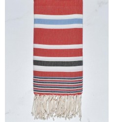 Dina red with blue and black stripes fouta