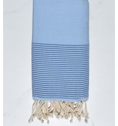 Beach towel Honeycomb light blue with azure stripes
