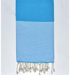 honeycomb azure blue striped white fouta