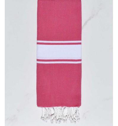 Child Fushia pink White strip