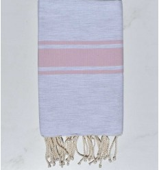 Beach towel flat light gray with pink stripe