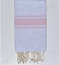 Fouta gris clair avec bande rose dragée