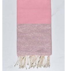 Fouta plate rose vif au fil lurex argenté