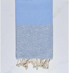 Beach towel flat sky blue with silver lurex