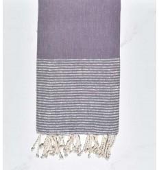 Fouta plate lilas au fils lurex argenté