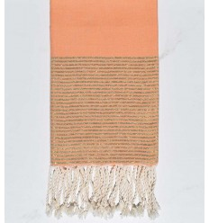 Beach towel flat dark salmon golden lurex
