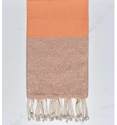 Beach towel flat dark salmon silver lurex thread