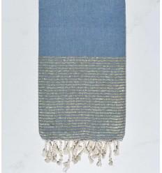 strandhandduk platt blå barbeau med gyllene lurex tråd