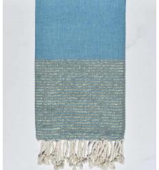 Beach towel flat blue teal with golden lurex thread