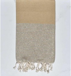 sand beige beach towel with silver lurex