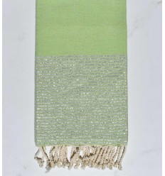 beach towel Fouta lurex light green and silver
