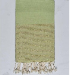 Beach towel flat pistachio green with golden lurex thread