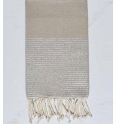 Beach towel flat greige with silver lurex