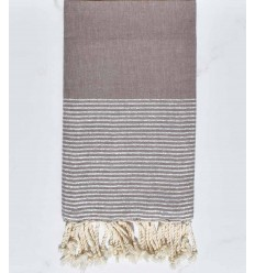 Beach towel flat sepia with silver lurex