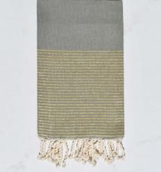 strandhandduk platt blåregn med gyllene lurex tråd