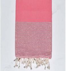 Fouta plate rose moyen au fil lurex argenté