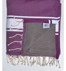 beach towel,doubled sponge purple and taupe