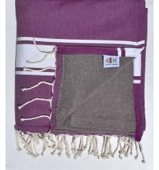 Fouta doublée éponge violet et taupe