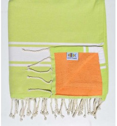 beach towel,doubled sponge pistachio green and apricot