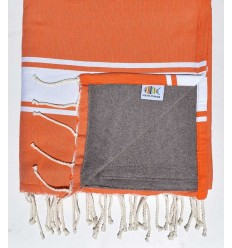 beach towel,doubled sponge orange and dark taupe