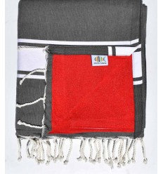beach towel,doubled sponge anthracite gray and red