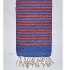Beach towel zebra Honeycomb royal blue and red