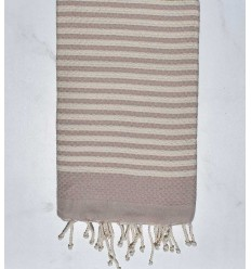 Beach towel zebra Honeycomb light terracotta pink and creamy white
